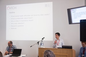 """Jacob Andrews presenting his talk: """"Can we use technology to detect the early signs of mental health difficulties in older adults?"""""""