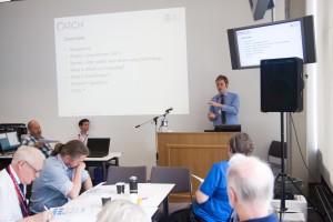 """Matthew Bennion presenting his talk on: """"Can digital devices capable of reading emotion make the delivery of digital therapy more user-friendly and acceptable to older adults?"""""""